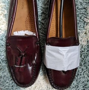 Oxblood leather loafers